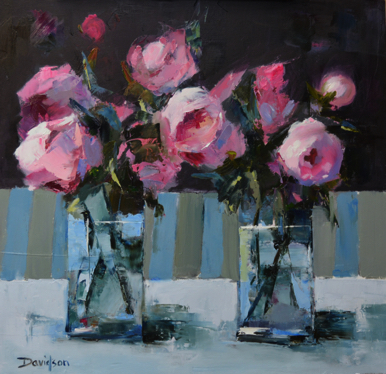 "1122 PINK PEONY ROSES 16"" x 16"""